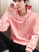 cheap -Men's Daily Wear Hoodie Solid V Neck Micro-elastic Cotton Long Sleeves Fall