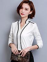 preiswerte -Damen Solide Retro Alltag Hemd,Hemdkragen Langärmelige Baumwolle