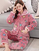 abordables -Costumes Pyjamas Femme,Imprimé Imprimé Coton Rose Claire