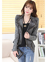 cheap -Women's Daily Street chic Spring Fall Denim Jacket,Solid Peter Pan Collar Long Sleeve Regular Others