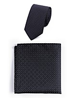 cheap -Men's Polyester Necktie,Simple Casual Jacquard All Seasons Black