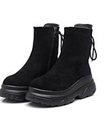 cheap -Women's Shoes PU Winter Comfort Boots Flat Round Toe Closed Toe Mid-Calf Boots for Casual Black