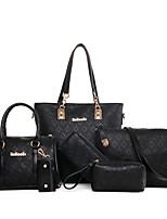 preiswerte -Damen Taschen PU Bag Set 6 Stück Geldbörse Set Muster / Druck Reißverschluss für Normal Alle Jahreszeiten Blau Gold Weiß Schwarz