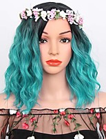 cheap -Women Synthetic Wig Short Water Wave Black/Pink Black/Green Orange Ombre Hair Layered Haircut Natural Wigs Costume Wig