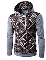 cheap -Men's Sports Going out Active Boho Hoodie Plaid Hooded Micro-elastic Cotton Long Sleeve All Seasons