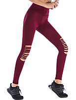 cheap -Women's Sporty Polyester Medium Shredded Legging,Solid Wine