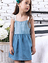 Girl's Going out Casual/Daily Solid Color Block Dress,Cotton Summer Sleeveless Street chic Blue