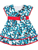 cheap -Girl's Daily Floral Dress,Cotton Summer Short Sleeves Cute Princess Blue
