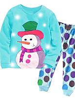 cheap -Girls' Daily Sports Print Clothing Set,Cotton All Seasons Long Sleeve Casual Street chic Blue
