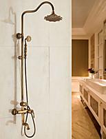 cheap -Antique Centerset Handshower Included Ceramic Valve Single Handle Two Holes Antique Copper , Shower Faucet