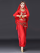 Belly Dance Outfits Women's Performance Spandex Crystals/Rhinestones Paillette 3/4 Length Sleeve Dropped Tops Pants Hip Scarf Headpieces