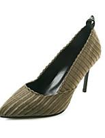 preiswerte -Damen Schuhe PU Frühling Herbst Komfort High Heels Stöckelabsatz für Normal Schwarz Armeegrün
