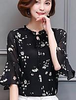 Недорогие -Для женщин Повседневные На выход Весна Лето Блуза Воротник-стойка,На каждый день Уличный стиль Цветочный принт Полиэстер