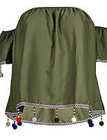 Недорогие -Для женщин На выход На каждый день Весна Лето Блуза Вырез лодочкой,Винтаж Очаровательный Секси Контрастных цветов Короткие рукава,