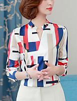 cheap -Women's Going out Work Street chic All Seasons ShirtStriped Rainbow V Neck Long Sleeve Polyester Medium