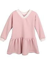 cheap -Girl's Casual/Daily Solid Dress,Polyester Winter Fall Long Sleeves Simple Blushing Pink