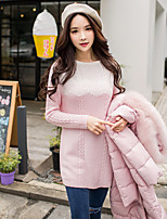 cheap -DABUWAWA Women's Going out Casual/Daily Active Regular Pullover,Color Block Round Neck Long Sleeves Polyester Nylon Winter Fall Opaque