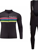 cheap -Cycling Jersey with Bib Tights Unisex Long Sleeves Bike Jersey Clothing Suits Bike Wear Fast Dry Geometric Cycling / Bike Dark Navy