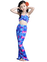 cheap -The Little Mermaid Swimwear Bikini Kid Christmas Masquerade Festival / Holiday Halloween Costumes Purple Color Block