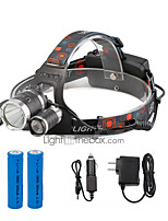 cheap -U'King Headlamps LED 2000 lm 4 Mode Cree R5 Cree T6 Portable Durable Camping/Hiking/Caving Everyday Use Cycling/Bike Hunting Fishing Black