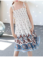 Girl's Casual/Daily Going out Print Dress,Cotton Summer Sleeveless Street chic White