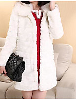 cheap -Women's Going out Casual/Daily Street chic Winter Fall Fur Coat,Solid Square Neck Long Sleeve Regular Faux Fur Fur Trim