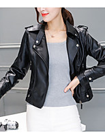 cheap -Women's Casual/Daily Simple Winter Fall Leather Jacket,Solid Shirt Collar Long Sleeve Regular Others
