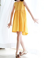 Girl's Going out Solid Dress,Cotton Winter Fall Sleeveless Simple Yellow