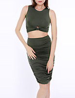 Women's Casual/Daily Club Simple Sexy Summer Fall Tank Top Skirt Suits,Solid Round Neck Sleeveless Sexy Slim Polyester Micro-elastic