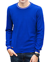 cheap -Men's Casual/Daily Work Simple Active Street chic Regular Pullover,Solid Round Neck Long Sleeves Polyester Spandex Japanese Cotton Winter