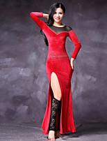 abordables -Danza del Vientre Vestidos Mujer Actuación Tul Raso de Terciopelo Combinación Separado Mangas largas Cintura Media Vestidos