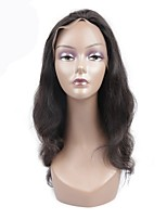 cheap -Remy Brazilian Lace Wig Body Wave With Baby Hair Lace Front Natural Hairline 130% Density Natural Black Short Medium