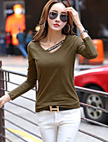cheap -Women's Holiday Street chic Winter Spring T-shirt,Solid Letter V Neck Long Sleeve Cotton Medium