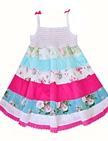 cheap -Girl's Daily Floral Patchwork Dress,Cotton Summer Sleeveless Cute Boho White