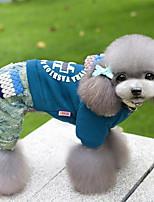 economico -Cane Tuta Abbigliamento per cani Casual Lettere & Numeri Viola Rosso Blu Costume Per animali domestici