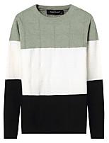 Недорогие -Для мужчин На каждый день Простой Обычный Пуловер Однотонный,Круглый вырез Длинный рукав Хлопок Полиэстер Зима Осень Плотная