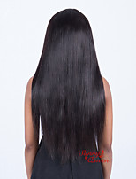 abordables -Mujer Pelucas de Cabello Natural Brasileño Remy 360 frontal 180% Densidad Con mechones Corte Recto Peluca Negro Natural Largo Sin procesar