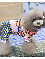 economico -Cane Tuta Abbigliamento per cani Casual Cartoni animati Blu Rosa Costume Per animali domestici
