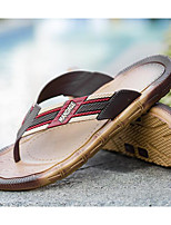 Men's Shoes PVC Leather Spring Summer Comfort Slippers & Flip-Flops for Casual Khaki Black