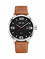 Men's Casual Watch Fashion Watch Dress Watch Japanese Quartz Calendar / date / day Large Dial Leather Band Casual Elegant Cool Khaki