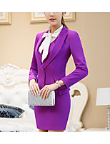 Women's Work Simple All Seasons Set Skirt Suits,Solid Shirt Collar Long Sleeve Pure Color Polyester Micro-elastic