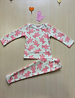 cheap -Girls' Print Clothing Set,Cotton Winter Fall Long Sleeve Cute White