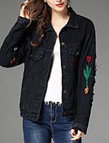 Недорогие -Для женщин На каждый день Осень Джинсовая куртка Рубашечный воротник,Простой Однотонный Обычная Длинные рукава,Хлопок