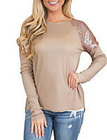 cheap -Women's Going out Casual/Daily Vintage Street chic Spring Fall T-shirtSolid Round Neck Long Sleeve Polyester Medium