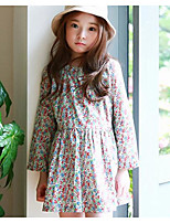 Girl's Birthday Holiday Floral Dress,Polyester Summer Long Sleeves Simple Red