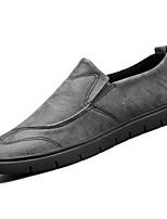 abordables -Hombre Zapatos PU microfibra sintético Primavera Otoño Mocasín Suelas con luz Zapatos de taco bajo y Slip-On para Casual Negro Gris Caqui