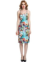 cheap -Women's Holiday Going out Sexy Boho Street chic Bodycon Sheath Dress,Floral Galaxy Strap Knee-length Above Knee Sleeveless Rayon