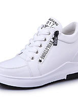 cheap -Women's Shoes PU Spring Fall Comfort Sneakers Wedge Heel Round Toe for Casual Black White