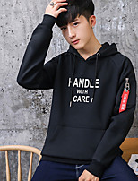 cheap -Men's Going out Casual/Daily Hoodie Solid Hooded Micro-elastic Cotton Polyester Long Sleeves Fall