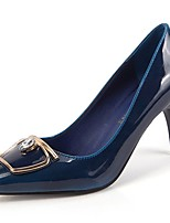 cheap -Women's Shoes PU Winter Fall Basic Pump Comfort Heels Stiletto Heel Pointed Toe for Casual Blue Green Coffee Black